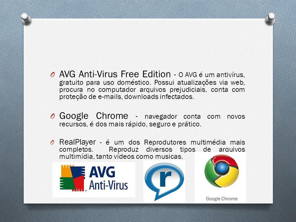 AVG Anti-Virus Free Edition - O AVG é um antivírus, gratuito para uso doméstico. Possui atualizações via web, procura no computador arquivos prejudiciais, conta com proteção de e-mails, downloads infectados.
