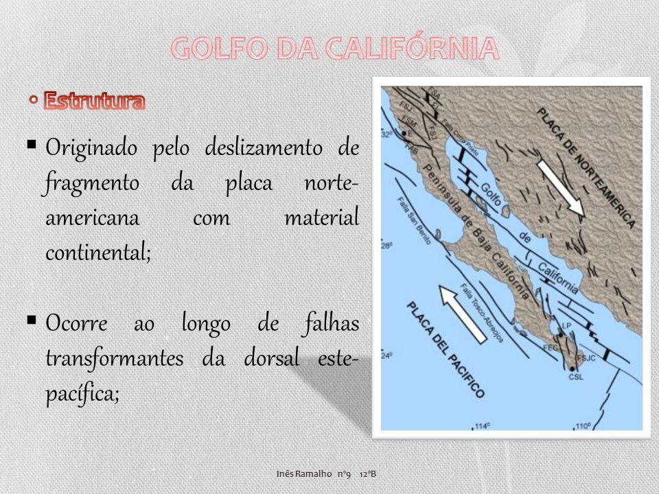 GOLFO DA CALIFÓRNIA Estrutura. Originado pelo deslizamento de fragmento da placa norte-americana com material continental;