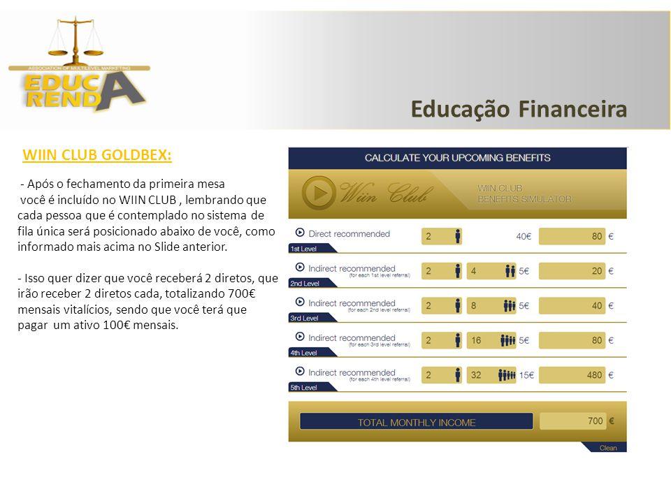 Educação Financeira WIIN CLUB GOLDBEX: