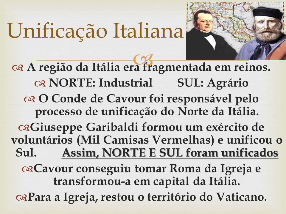 Unificação Italiana A região da Itália era fragmentada em reinos.