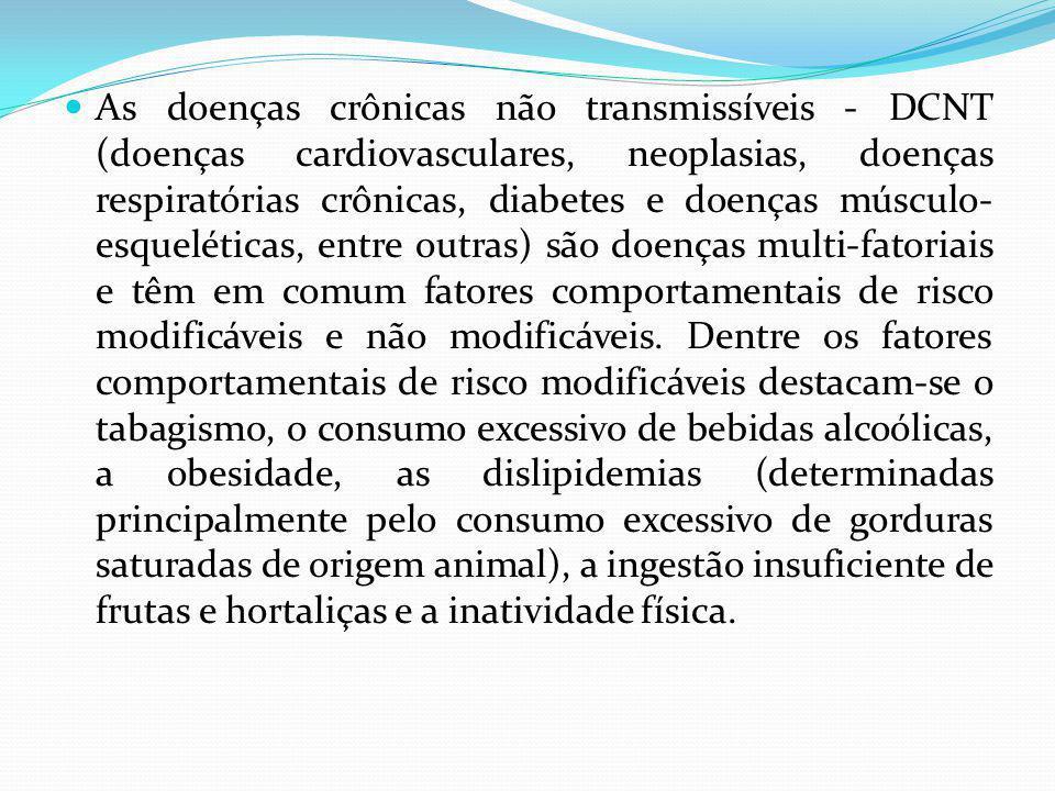 As doenças crônicas não transmissíveis - DCNT (doenças cardiovasculares, neoplasias, doenças respiratórias crônicas, diabetes e doenças músculo-esqueléticas, entre outras) são doenças multi-fatoriais e têm em comum fatores comportamentais de risco modificáveis e não modificáveis.