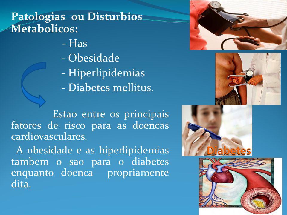 Patologias ou Disturbios Metabolicos: - Has - Obesidade