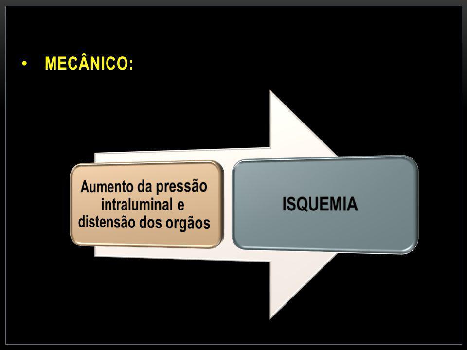 Aumento da pressão intraluminal e distensão dos orgãos