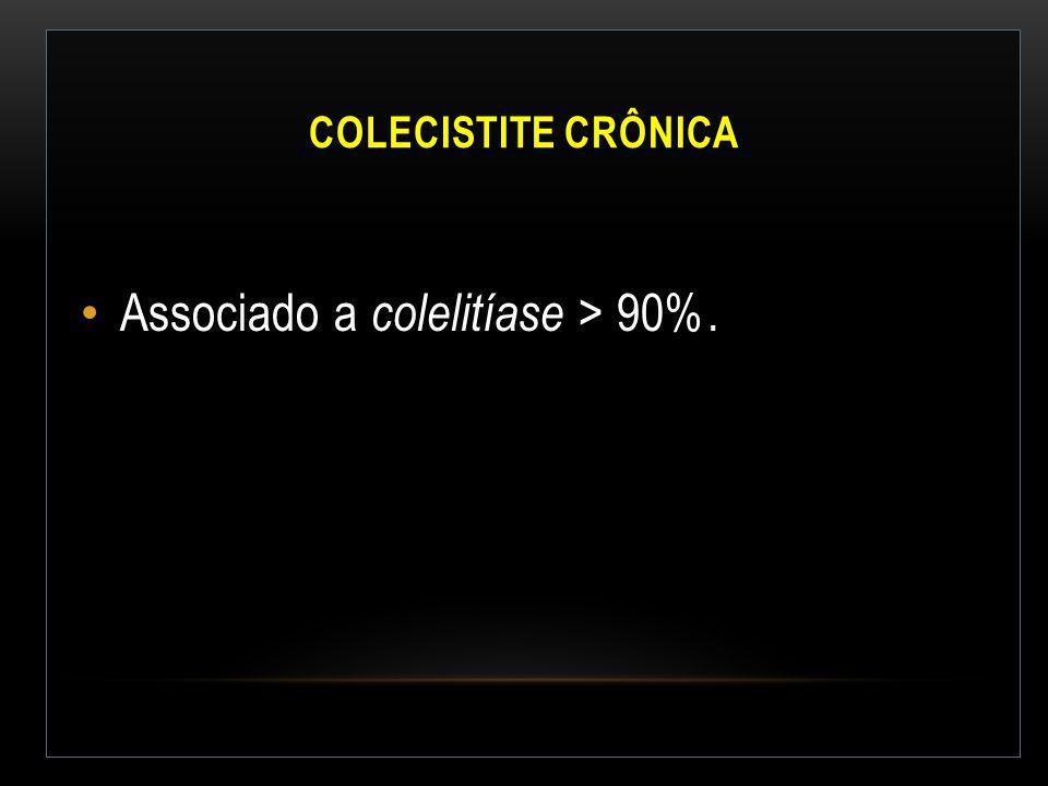 Associado a colelitíase > 90%.