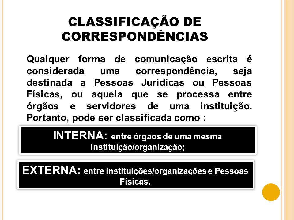 CLASSIFICAÇÃO DE CORRESPONDÊNCIAS