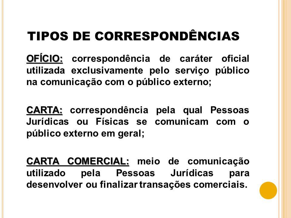 TIPOS DE CORRESPONDÊNCIAS
