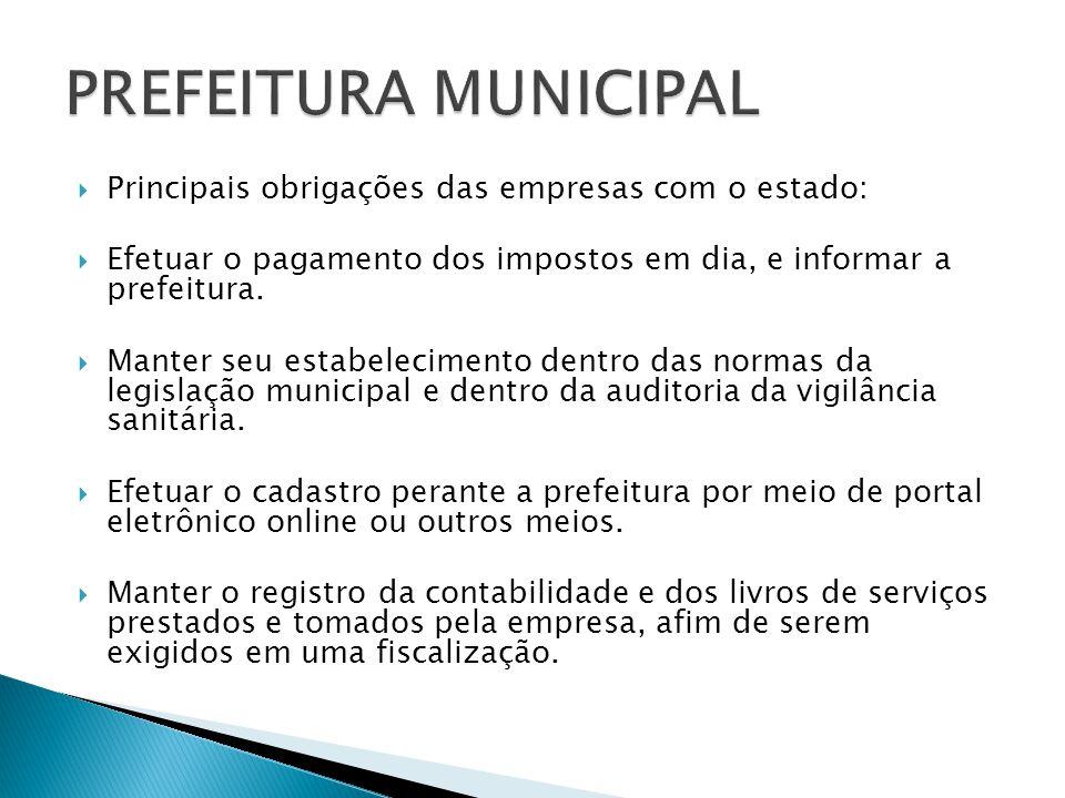 PREFEITURA MUNICIPAL Principais obrigações das empresas com o estado: