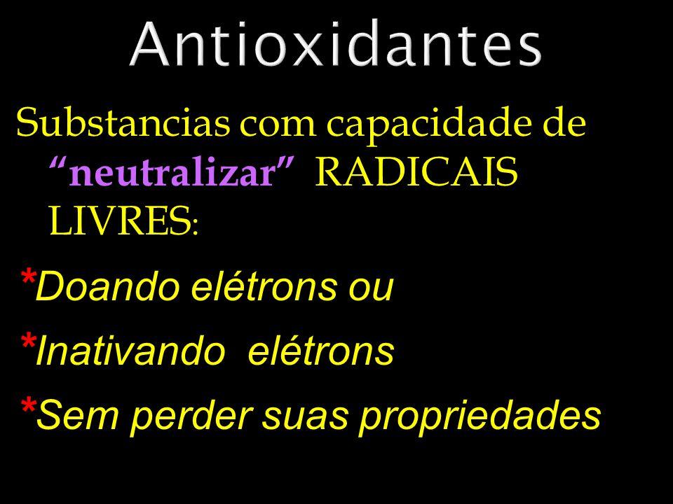 Antioxidantes *Doando elétrons ou *Inativando elétrons
