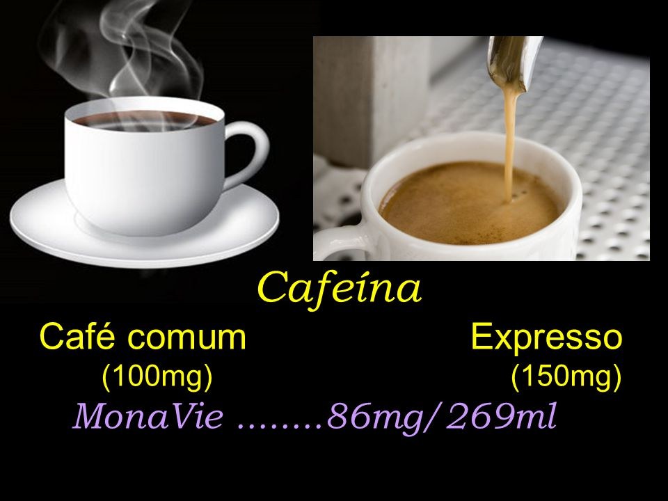 Cafeína Café comum Expresso (100mg) (150mg) MonaVie ........86mg/269ml