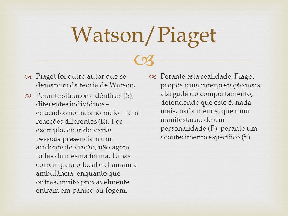 Watson/Piaget Piaget foi outro autor que se demarcou da teoria de Watson.