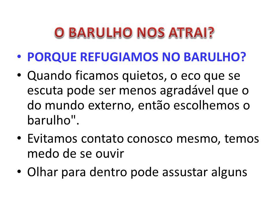 O BARULHO NOS ATRAI PORQUE REFUGIAMOS NO BARULHO