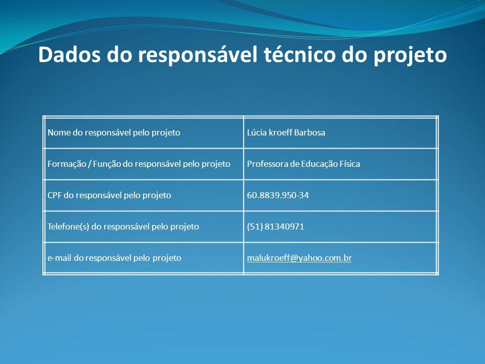 Dados do responsável técnico do projeto