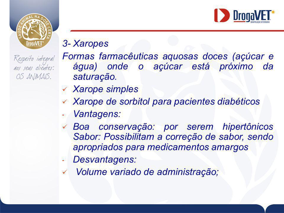 3- Xaropes Formas farmacêuticas aquosas doces (açúcar e água) onde o açúcar está próximo da saturação.