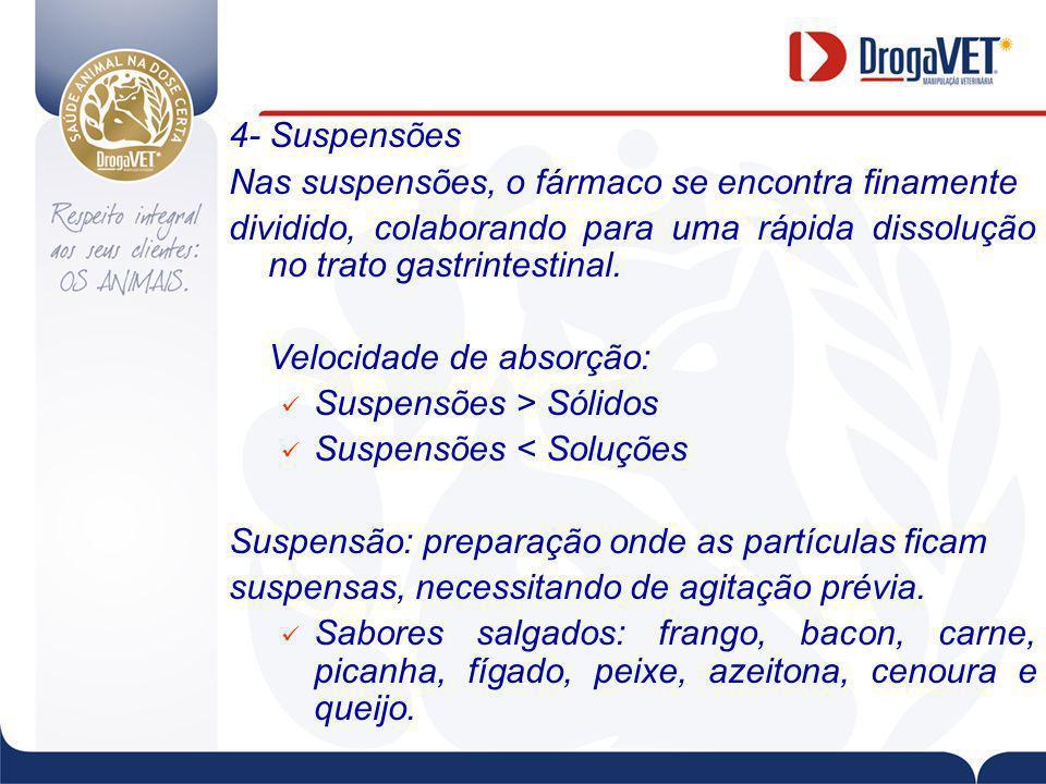 4- Suspensões Nas suspensões, o fármaco se encontra finamente. dividido, colaborando para uma rápida dissolução no trato gastrintestinal.