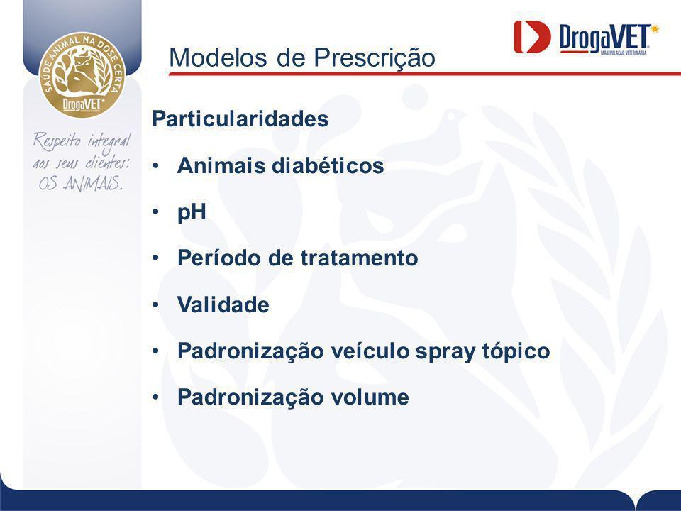 Modelos de Prescrição Particularidades Animais diabéticos pH