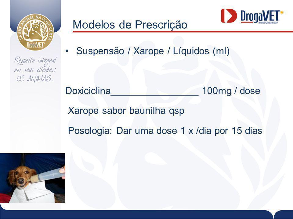 Modelos de Prescrição Suspensão / Xarope / Líquidos (ml)