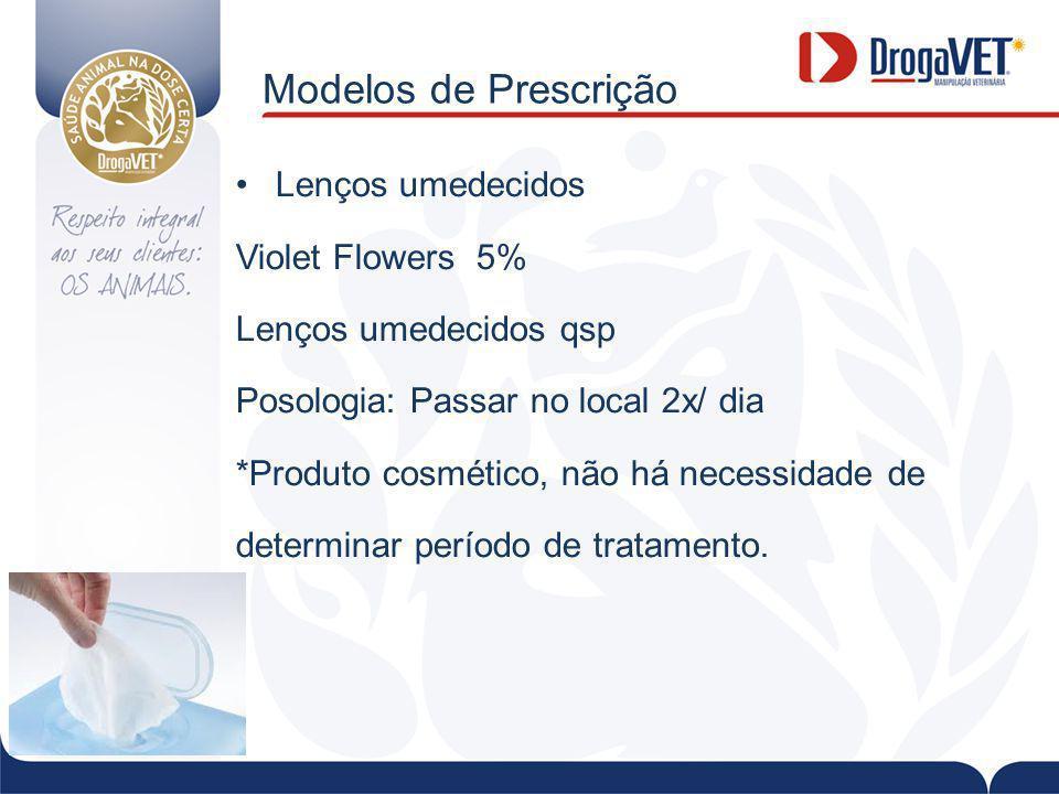 Modelos de Prescrição Lenços umedecidos Violet Flowers 5%