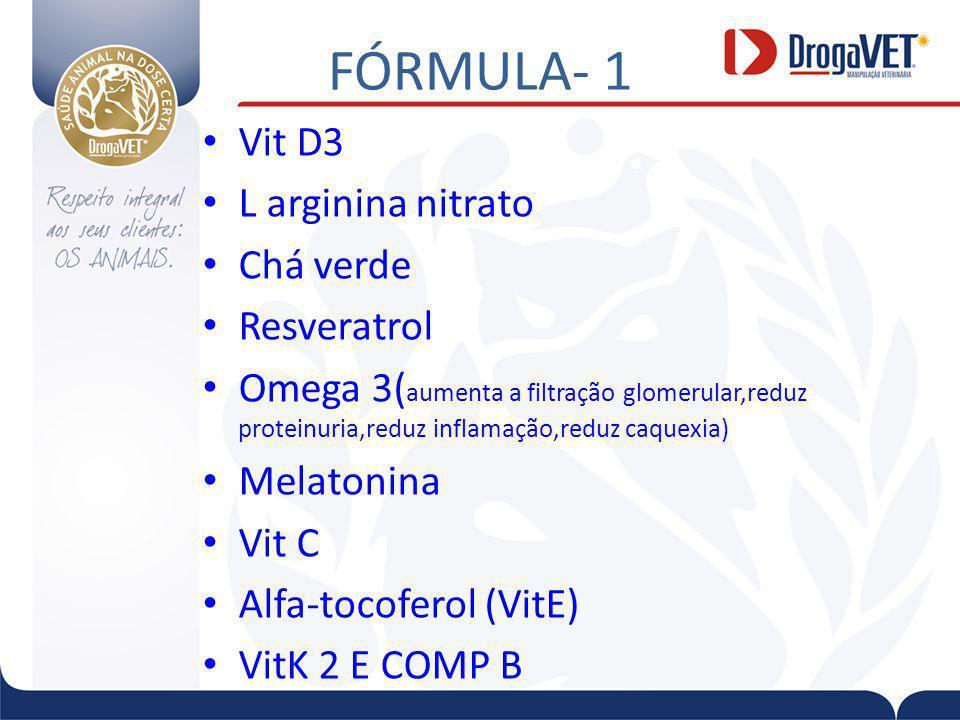 FÓRMULA- 1 Vit D3 L arginina nitrato Chá verde Resveratrol