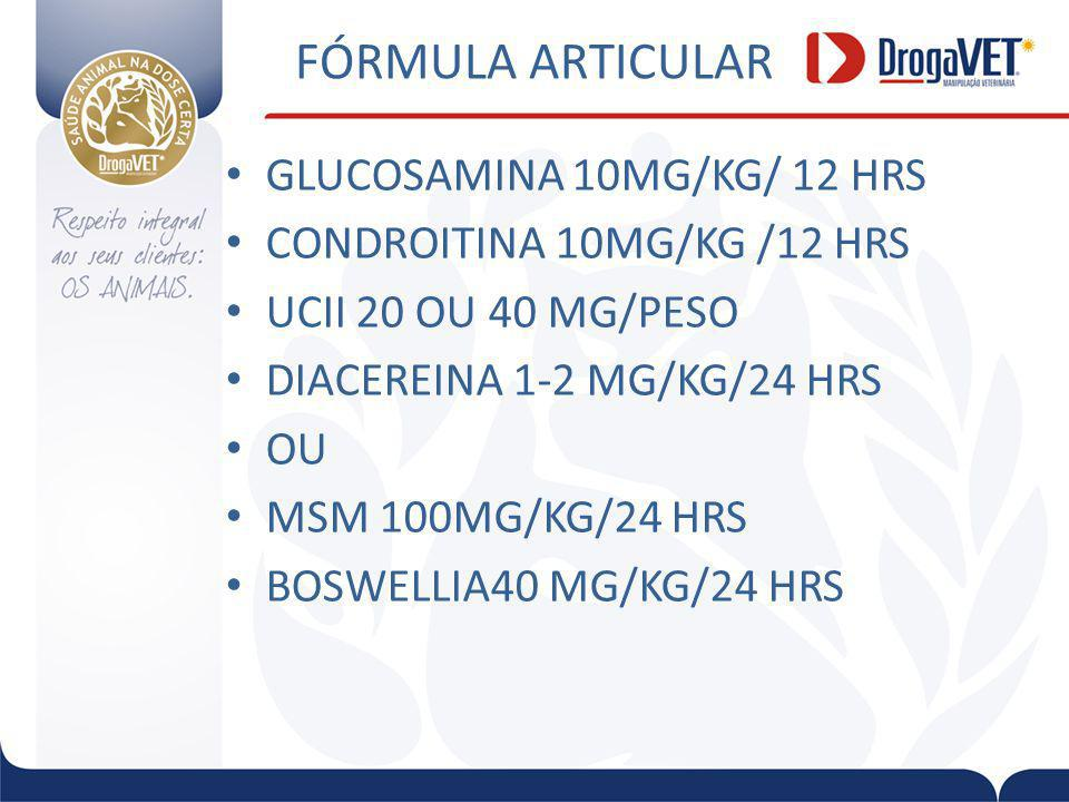FÓRMULA ARTICULAR GLUCOSAMINA 10MG/KG/ 12 HRS