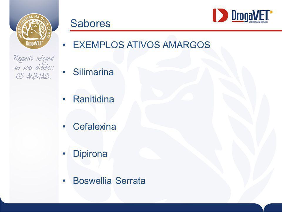 Sabores EXEMPLOS ATIVOS AMARGOS Silimarina Ranitidina Cefalexina
