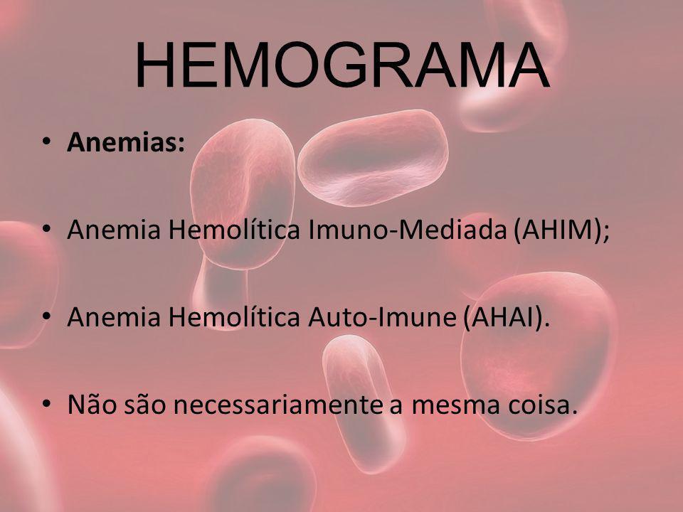 HEMOGRAMA Anemias: Anemia Hemolítica Imuno-Mediada (AHIM);