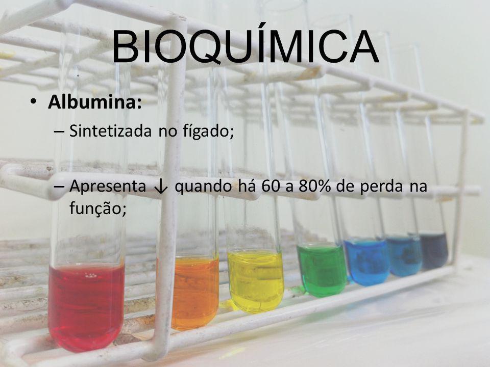 BIOQUÍMICA Albumina: Sintetizada no fígado;