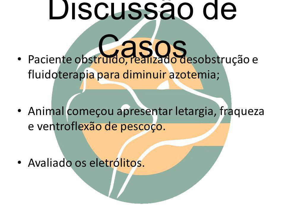 Discussão de Casos Paciente obstruído, realizado desobstrução e fluidoterapia para diminuir azotemia;