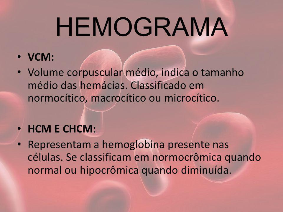 HEMOGRAMA VCM: Volume corpuscular médio, indica o tamanho médio das hemácias. Classificado em normocítico, macrocítico ou microcítico.