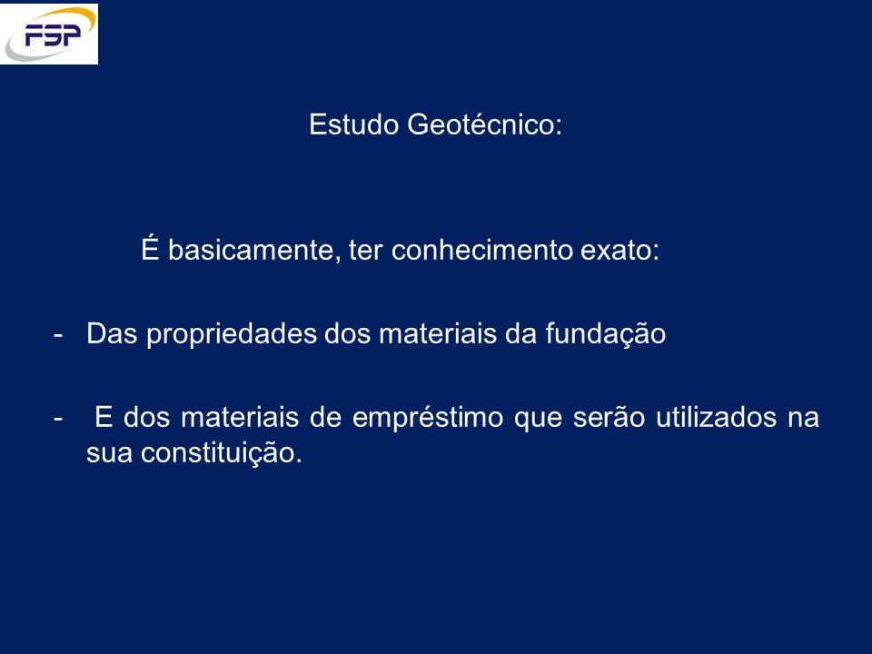 Estudo Geotécnico: É basicamente, ter conhecimento exato: Das propriedades dos materiais da fundação.