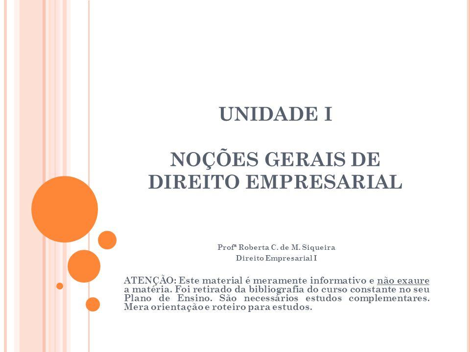 UNIDADE I NOÇÕES GERAIS DE DIREITO EMPRESARIAL