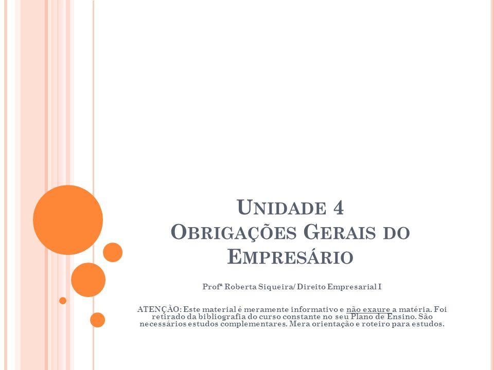 Unidade 4 Obrigações Gerais do Empresário