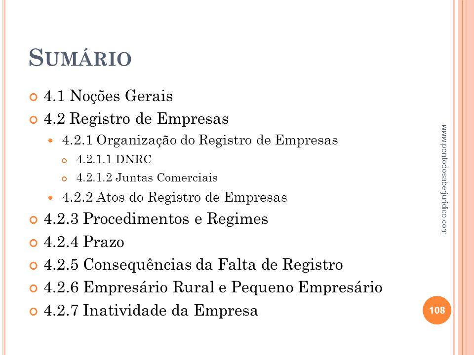 Sumário 4.1 Noções Gerais 4.2 Registro de Empresas