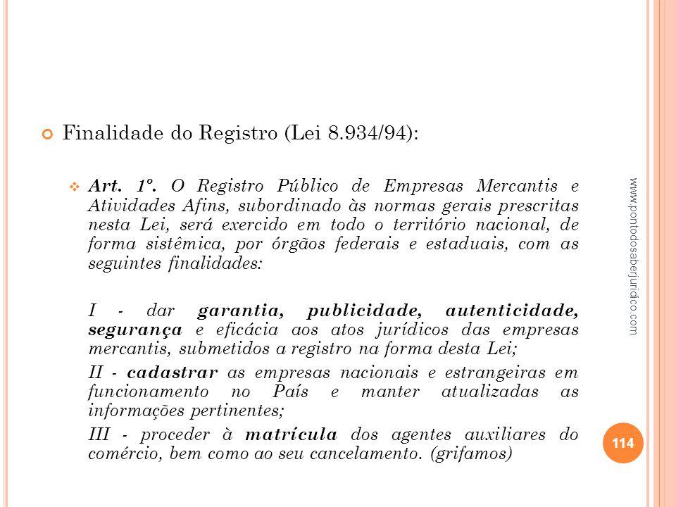 Finalidade do Registro (Lei 8.934/94):
