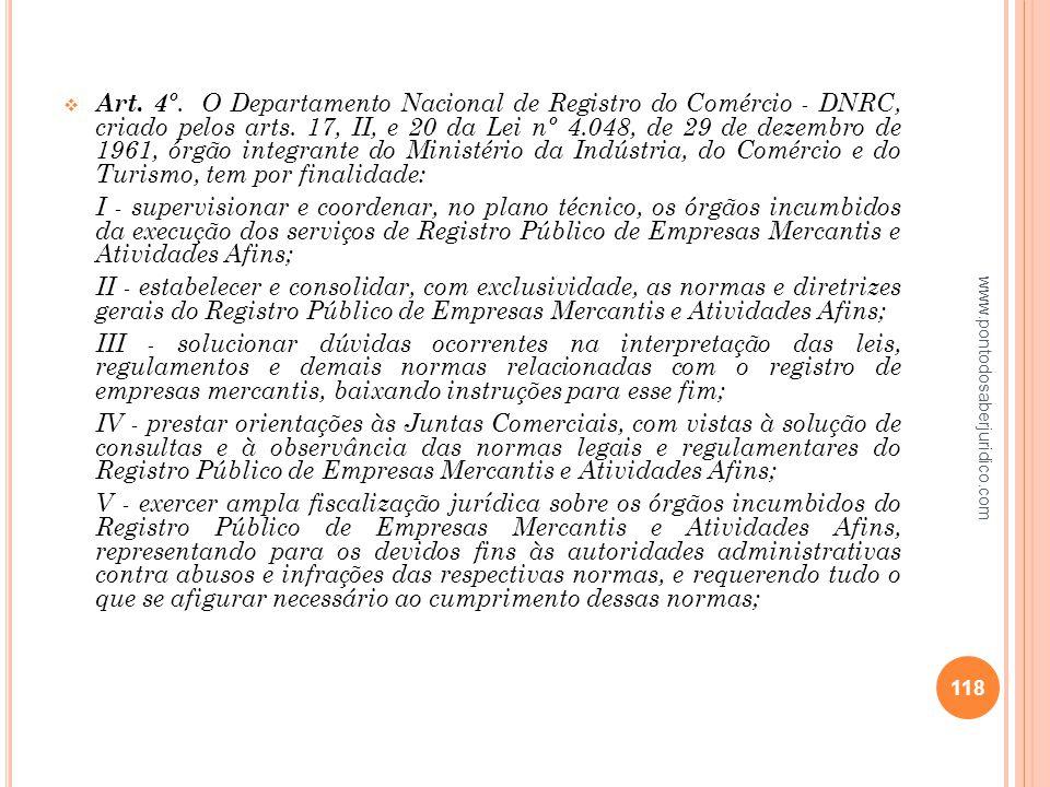 Art. 4º. O Departamento Nacional de Registro do Comércio - DNRC, criado pelos arts. 17, II, e 20 da Lei nº 4.048, de 29 de dezembro de 1961, órgão integrante do Ministério da Indústria, do Comércio e do Turismo, tem por finalidade: