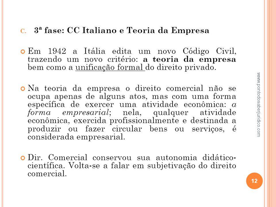 3ª fase: CC Italiano e Teoria da Empresa