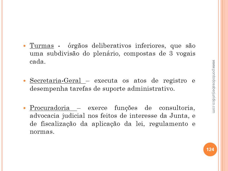 Turmas - órgãos deliberativos inferiores, que são uma subdivisão do plenário, compostas de 3 vogais cada.