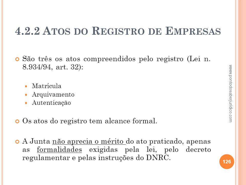4.2.2 Atos do Registro de Empresas