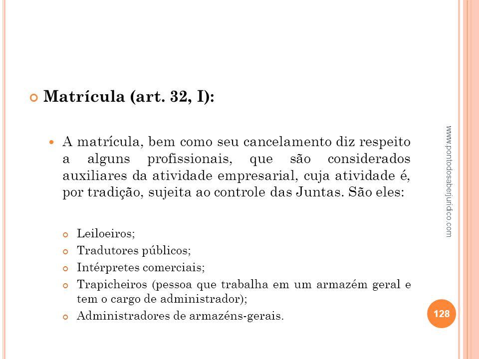 Matrícula (art. 32, I):