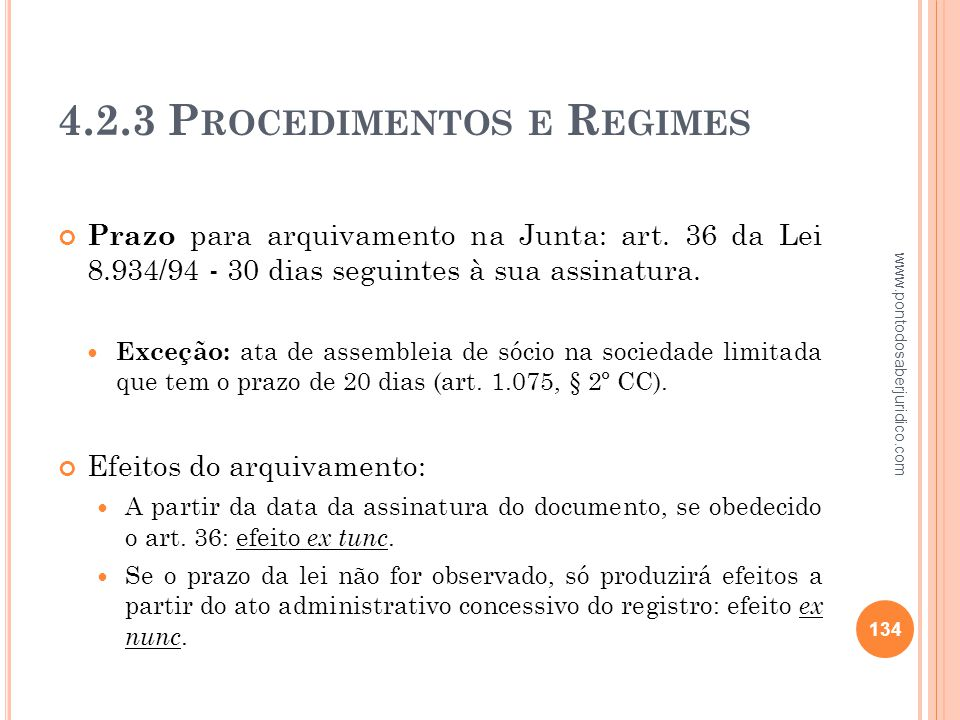 4.2.3 Procedimentos e Regimes