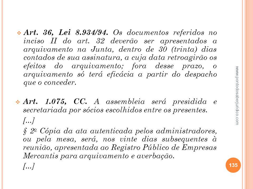 Art. 36, Lei 8. 934/94. Os documentos referidos no inciso II do art