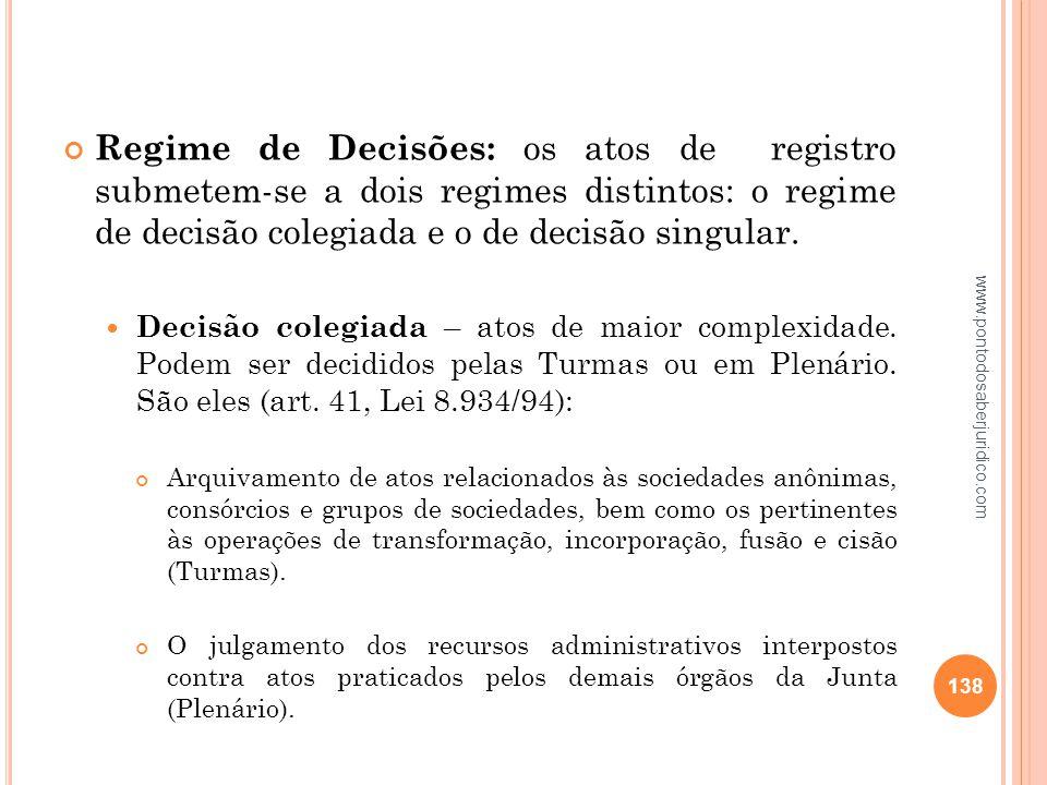 Regime de Decisões: os atos de registro submetem-se a dois regimes distintos: o regime de decisão colegiada e o de decisão singular.