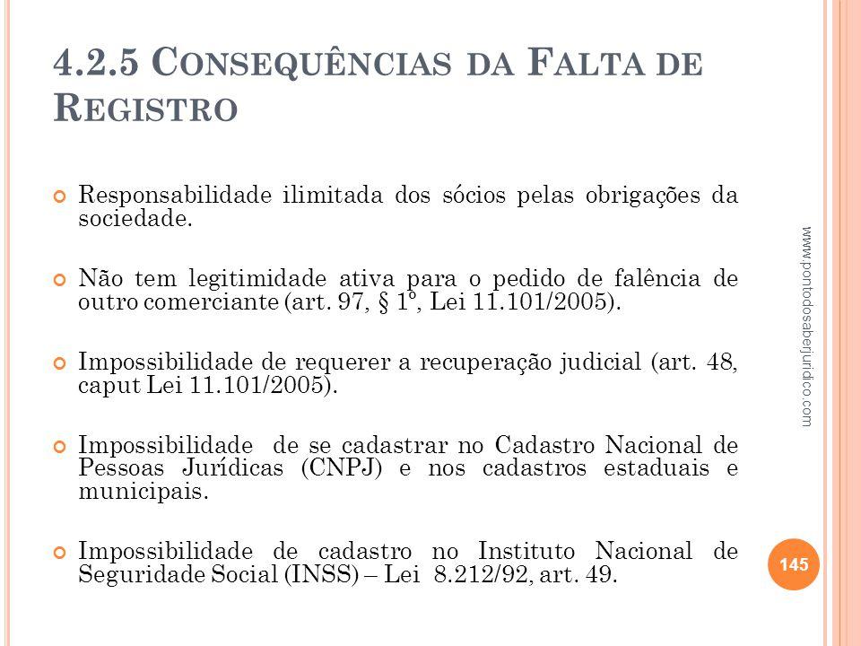 4.2.5 Consequências da Falta de Registro