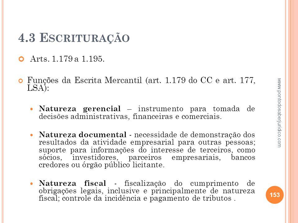 4.3 Escrituração Arts. 1.179 a 1.195. Funções da Escrita Mercantil (art. 1.179 do CC e art. 177, LSA):