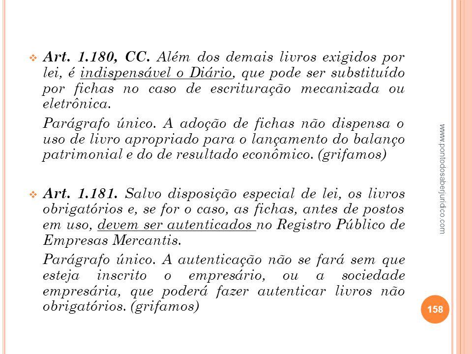 Art. 1.180, CC. Além dos demais livros exigidos por lei, é indispensável o Diário, que pode ser substituído por fichas no caso de escrituração mecanizada ou eletrônica.