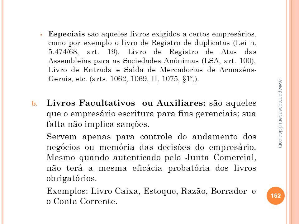 Exemplos: Livro Caixa, Estoque, Razão, Borrador e o Conta Corrente.