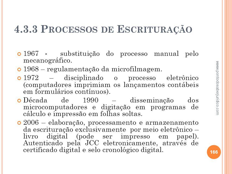 4.3.3 Processos de Escrituração