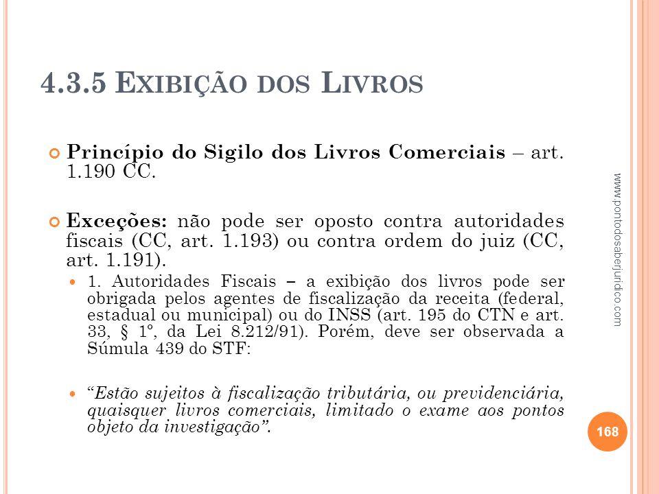 4.3.5 Exibição dos Livros Princípio do Sigilo dos Livros Comerciais – art. 1.190 CC.