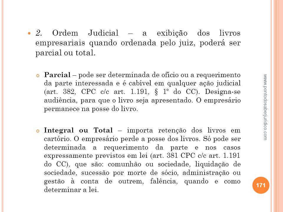 2. Ordem Judicial – a exibição dos livros empresariais quando ordenada pelo juiz, poderá ser parcial ou total.