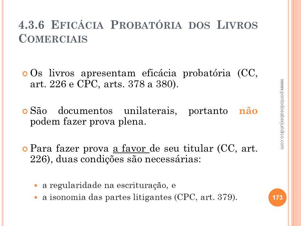 4.3.6 Eficácia Probatória dos Livros Comerciais