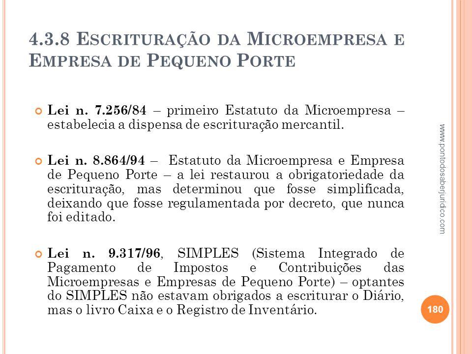 4.3.8 Escrituração da Microempresa e Empresa de Pequeno Porte